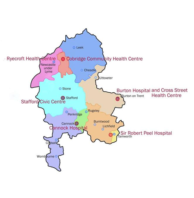 Staffordshire Sexual Health Clinics Map